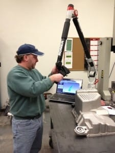 Romer Arm using laser scanning on an aluminum cast.